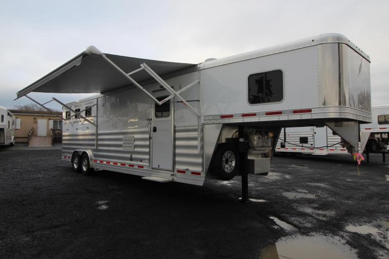 2018 Featherlite 9821 Liberty Legend 13ft Short Wall Generator Ready Living Quarters 3 Horse Trailer - Dinette & Couch combo