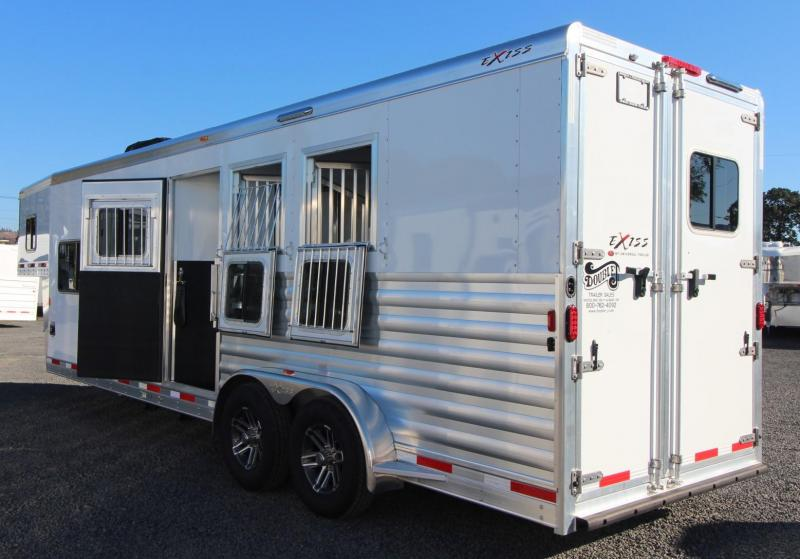 "2019 Exiss Escape 7310 - 10' S.W. Living Quarters 3 Horse Aluminum Trailer - 7'6"" Tall - Easy Care Flooring"