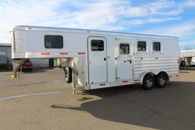 "2018 Exiss 7300 - 3 Horse All Aluminum Trailer - 7'2"" Tall - Escape Door - Stud Wall- Easy Care Flooring - Tail Side Drop Down Feed Doors - REDUCED PRICE"