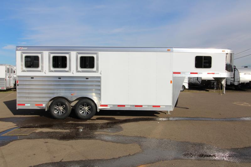 "2018 Exiss 7300 - 3 Horse All Aluminum Trailer - 7'2"" Tall - Large Tack Room - Stud Wall - Easy Care Flooring - Tail Side Drop Down Windows - First Stall Escape Door"