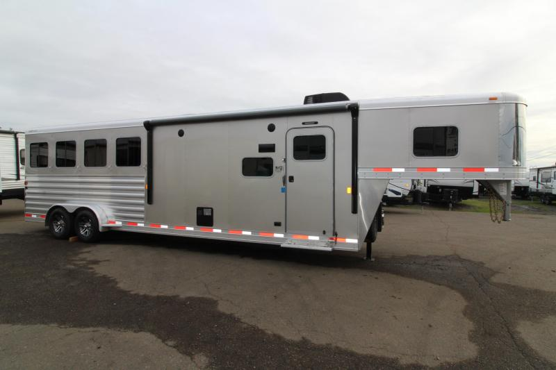 2019 Exiss Trailers 7410 Horse Trailer - Fold Down Bunk Bed over couch - All Aluminum - Easy Care Flooring