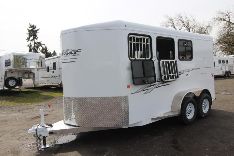 2018 Trails West Adventure MX 3 Horse Trailer - Drop Down Windows - Swing Out Saddle Rack - Windows In Rear Doors - Steel Frame Aluminum Skin