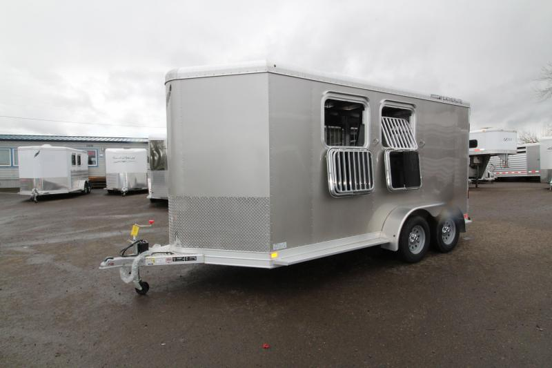 2018 Featherlite 9409 2 Horse Bumper Pull Trailer - All Aluminum - 7' Tall - Roomy Tack Room with Swing Out Saddle Rack - Champagne Exterior Color - PRICE REDUCED BY $1000 in New Pine Creek, OR