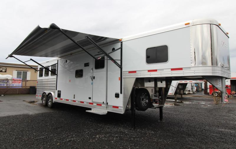 2019 Exiss Endeavor 8312 Living Quarters w/ 12ft short wall 3 Horse Trailer