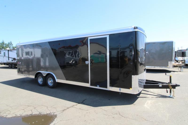 """2020 Mirage Xcel 8.5x24 Car Hauler Trailer - Steel Frame Aluminum Skin - Domed roof- Radius front - 4"""" Drop Axle - Dual Colored Exterior Side Sheets - Roof and Side Vents - Tandem axle"""