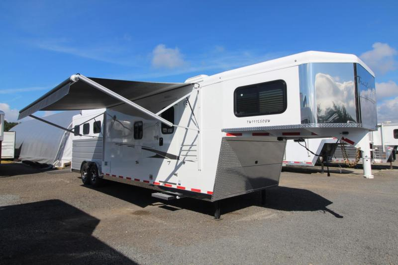 2019 Trails West 11x15 8' Wide Slide Out Hayrack Mangers Fold up Rear Tack Oven 3 Horse Trailer Living Quarters Trailer