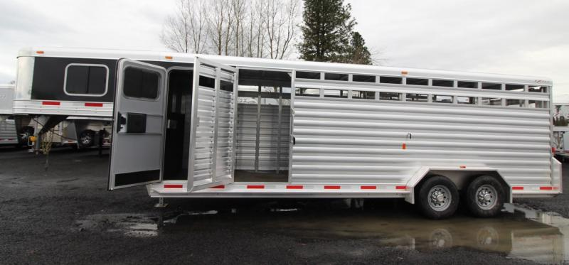 "2019 Exiss 7024 Stock Combo - 4 ft Enclosed Tack Room - All Aluminum Livestock Trailer - 7'2"" Tall -"