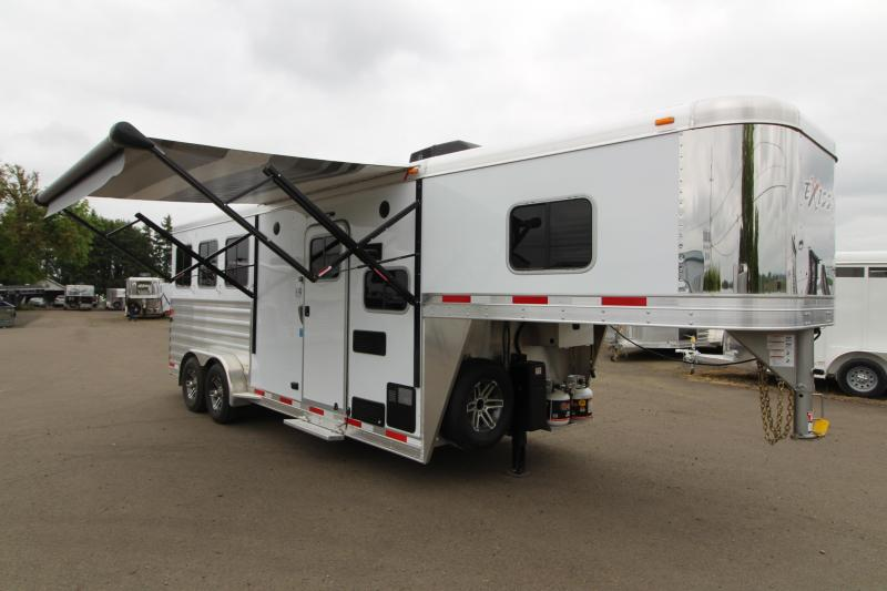 2019 Exiss Escape 7306 - 3 Horse Trailer w/ 6' Living Quarters - Upgraded Easy Care Flooring - Stud Wall - Power Awning - TV