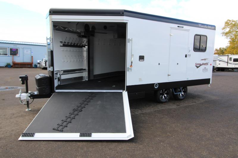 2019 Trails West RPM 20 BP Snowmobile Trailer - With 30 Gallon on Board Fuel Cell - Power Rear Ramp - Matt White Exterior