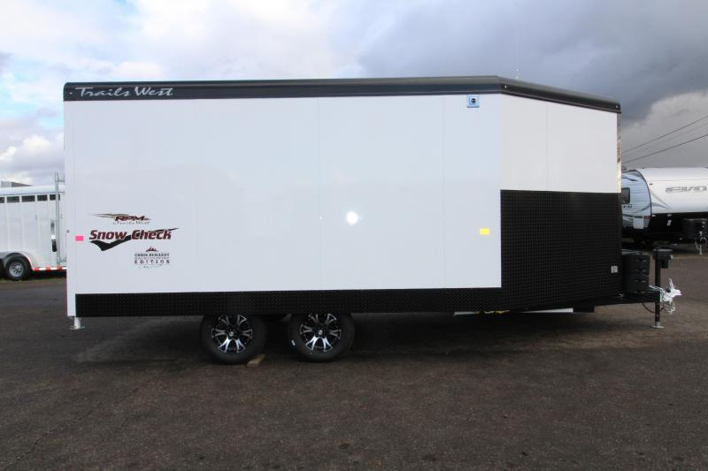 2019 Trails West Manufacturing RPM 20 BP Snowmobile Trailer - With 30 Gallon on Board Fuel Cell - Power Rear Ramp - Matt White Exterior