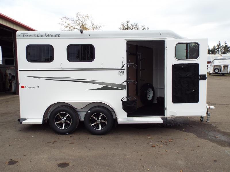2017 Trails West Sierra Specialite 2 Horse Trailer - Aluminum Skin w/ Steel frame- Swing Out Saddle Rack! - insulated horse area ceiling