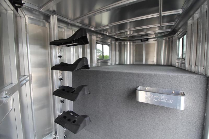 """2017 Exiss Express XT - 7'2"""" Tall - Extruded Aluminum - Upgraded Windows in Rear 4 Horse Trailer"""