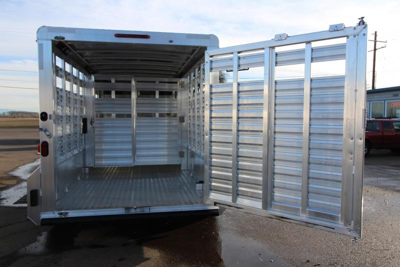 "2018 Exiss STK 7016 16 ft - 7'2"" Tall - Livestock Trailer - All Aluminum - Center and Rear Gates with Sliders - 54"" Drivers Side Escape Door"