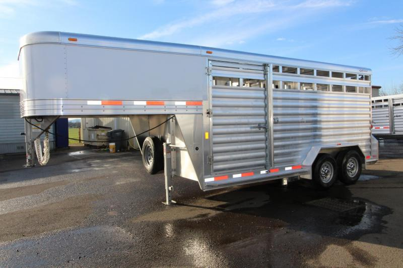 "2018 Exiss STK 7016 16 ft - 7'2"" Tall - Livestock Trailer - All Aluminum - Center and Rear Gates with Sliders - 54"" Drivers Side Escape Door in New Pine Creek, OR"