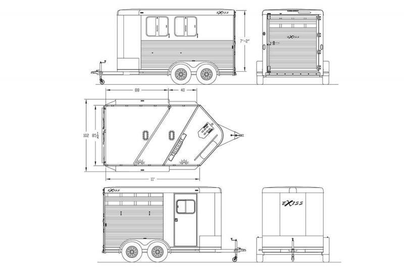 2018 Exiss Express CXF 2 Horse Trailer - Drop Down Head Side Windows w/ Tail Side Plexi Glass Inserts for Air Gaps - Enclosed Tack Room - Air Flow Dividers - PRICE REDUCED BY $1100