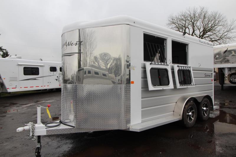 2018 Trails West Sierra II - Aluminum Skin Steel Frame - 2 Horse Trailer - 1ft Tack Room Extension  in Astoria, OR