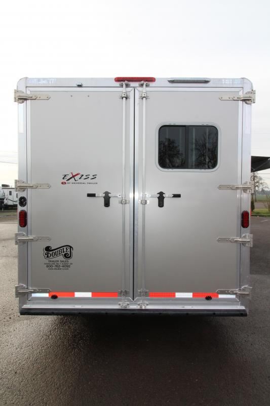 2019 Exiss Trailers 8312 - 3 Horse Trailer with 12' LQ Short Wall w/ Slide Out - Drop Down Tail Side Windows - Easy Care Flooring - 28