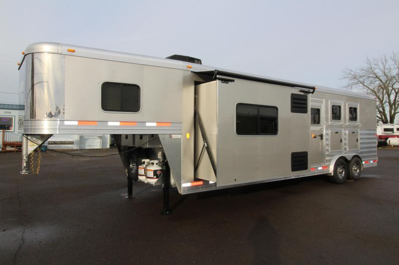 "2019 Exiss Trailers 8312 - 3 Horse Trailer with 12' LQ Short Wall w/ Slide Out - Drop Down Tail Side Windows - Easy Care Flooring - 28"" TV - Pre Wired for Generator"