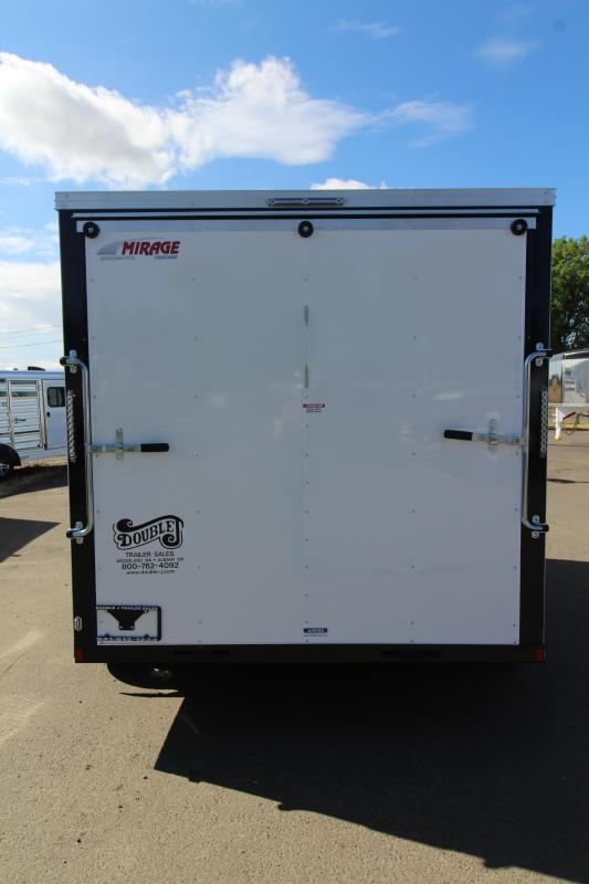 2019 Mirage Xpres 7x12 Enclosed Cargo Trailer- Xtra package - Crystal white exterior - Barlock curbside mandoor - Rear ramp door - 1k fold down stabilizer jack package