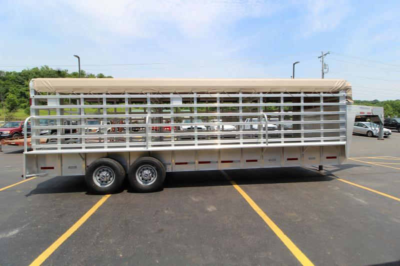2017 Featherlite 8127 24' All Aluminum Roll Top Livestock Trailer w/Canvas Roof Cover