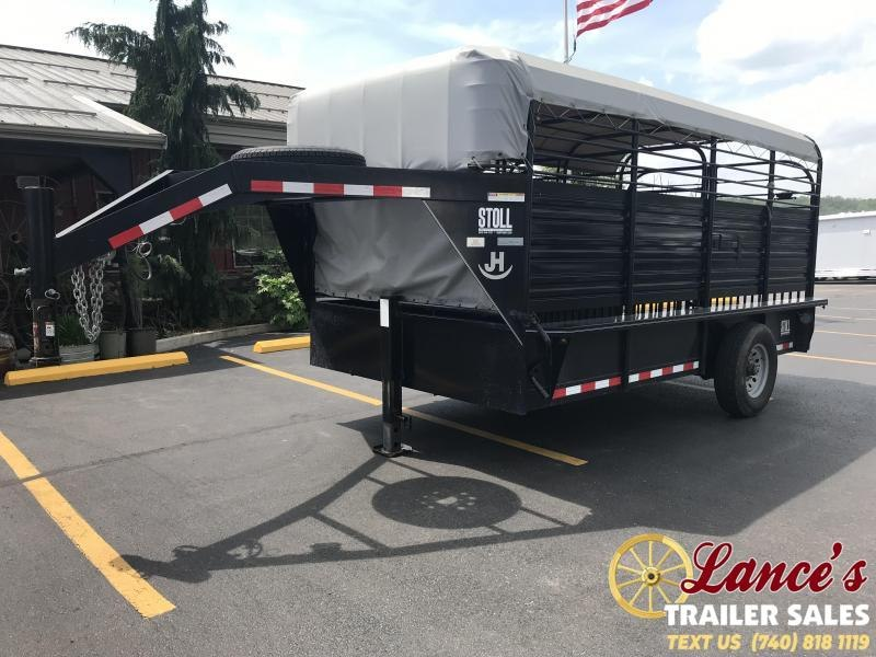 2015 Stoll 14' Canvas Top Stock Trailer