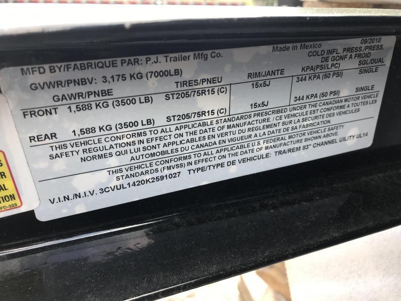 "2019 PJ 83""x14' Solid Side Utility Trailer K2591027"