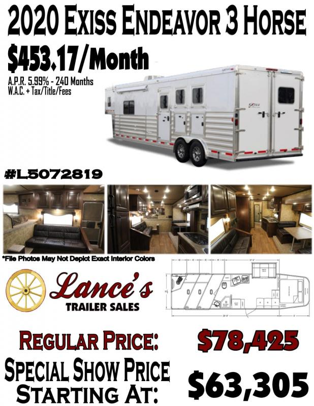 2020 Exiss Endeavor - 8' wide- 3 Horse w/ 14' Shortwall with Slide Living Quarters