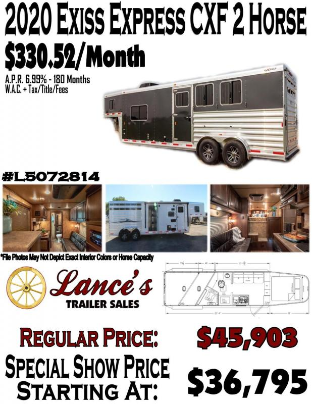 2020 Exiss Express CXF 2 Horse w/ 11' Shortwall Living Quarters