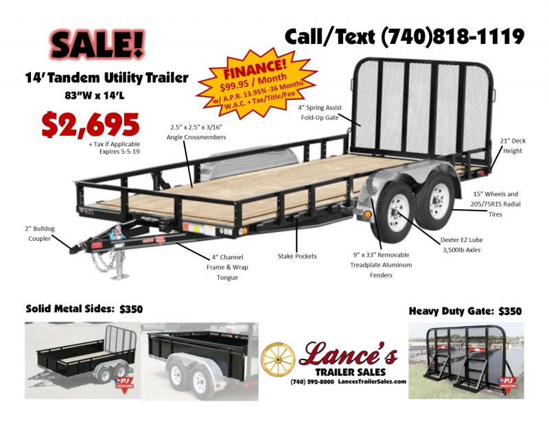 "2019 PJ 83"" x 14' Fold-Up Gate Utility Trailer"