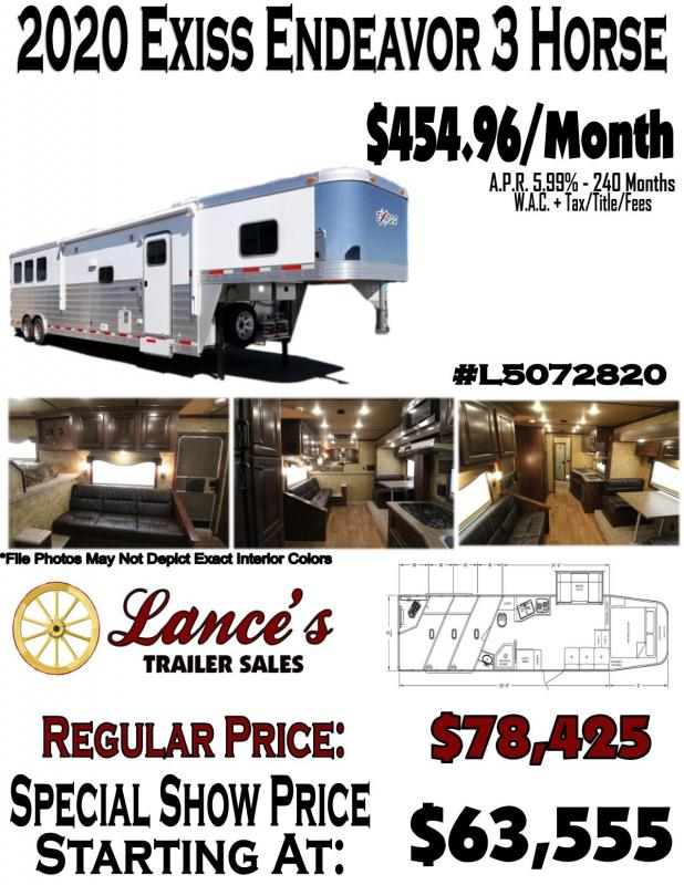 2020 Exiss Endeavor - 8' - wide -3 Horse w/ 14' Shortwall with Slide Living Quarters