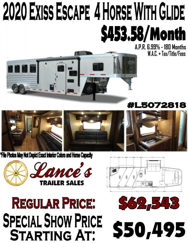 2020 Exiss Escape - 7'-wide- 4 Horse w/ 10' Shortwall with Slide Living Quarters