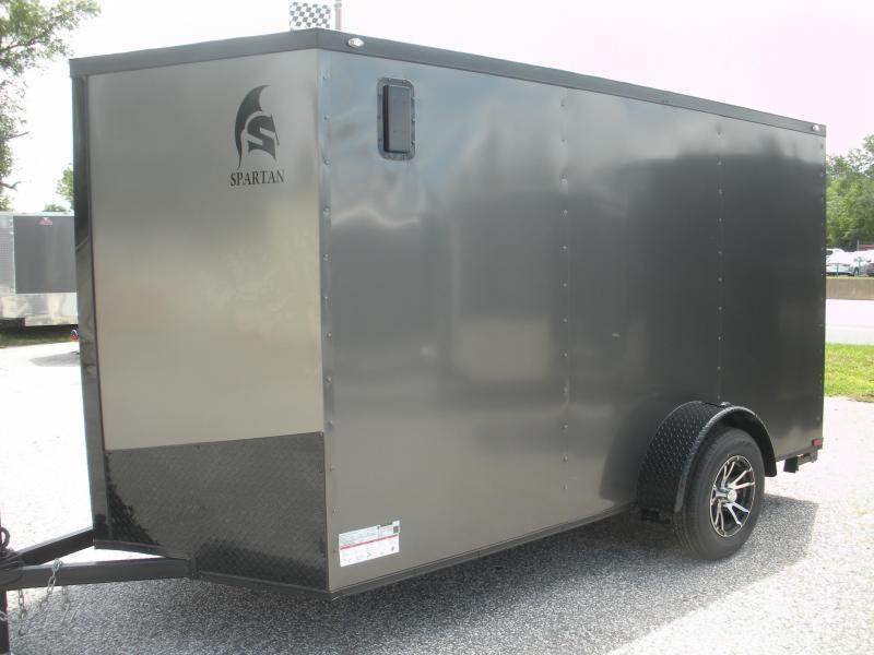 """2019 Spartan 6' X 12' Charcoal w/ """"Black Trim Pkg."""" & Motorcycle Pkg. Enclosed Cargo Trailer"""
