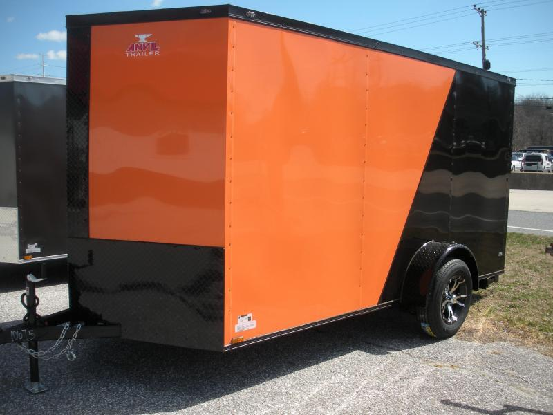 "2019 Anvil 6' X 12' Enclosed ""BLACKOUT"" 2 Tone with Orange Cargo Trailer"