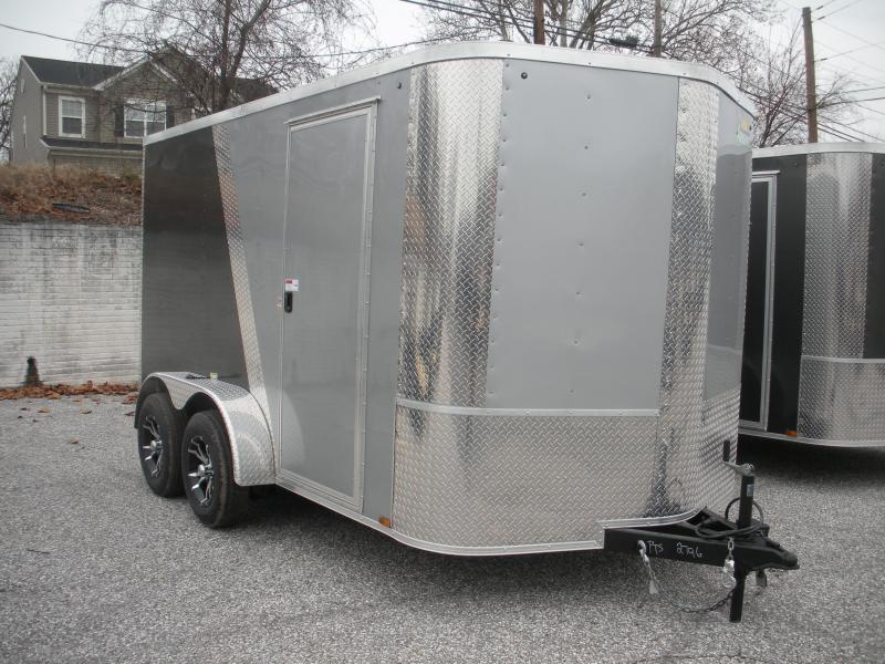 2019 Arising 7' X 12' 7K Charcoal/Silver Enclosed Motorcycle Cargo Trailer