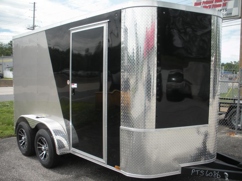 2019 Arising 7' X 12' 7K Black/Beige Enclosed Motorcycle Cargo Trailer