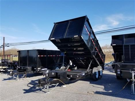 7 x 14 Sure-Trac 4' High Side 14k Dual-Ram Dump Trailer