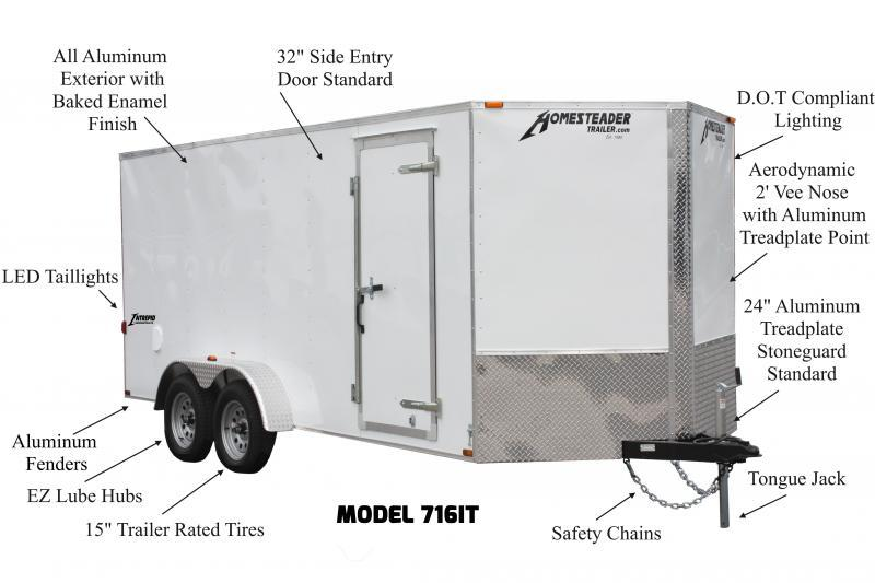 7 x 14 Homesteader Intrepid OHV V-Nose Cargo 7K
