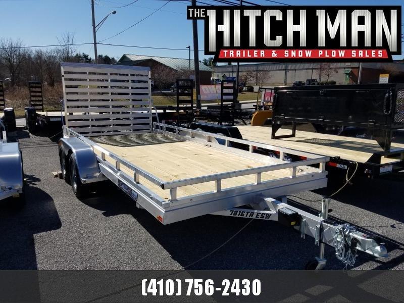 6.5' x 16' ALUMA Aluminum Wood Deck Utility Trailer 7k