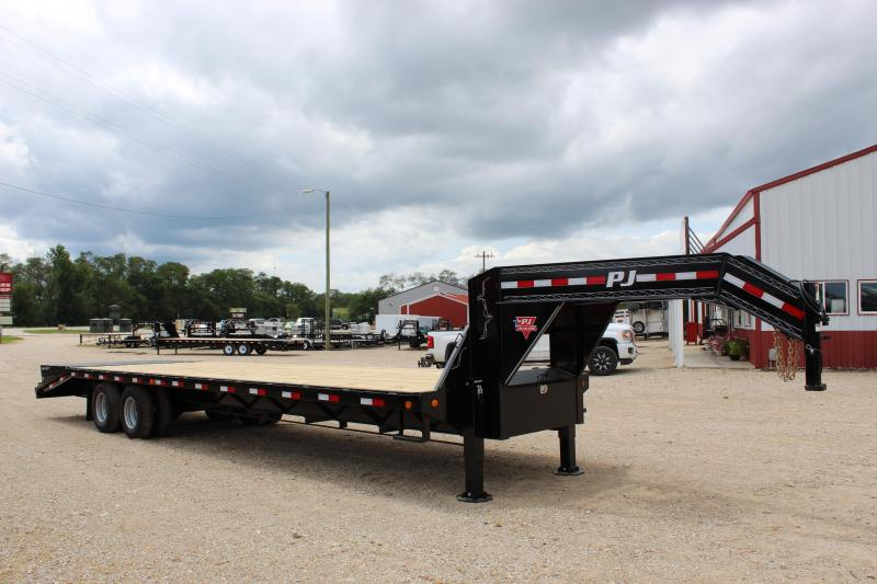2019 PJ Trailers FD 32' gooseneck Flatbed w/ hydraulic jacks & power tail