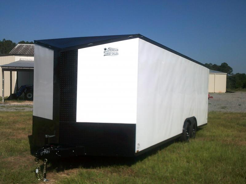8.5'X24' DOUBLE AXLE WHITE/BLACKOUT CAR-HAULER