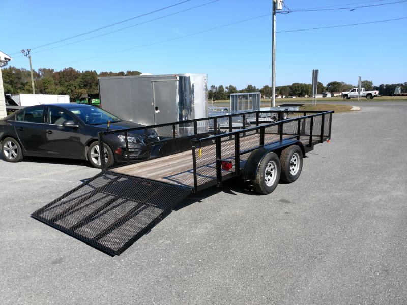 2018 American Manufacturing Operations (AMO) AL16TS - 76 X 16 Landscape w/ 2 Mesh Side Gate Utility Trailer