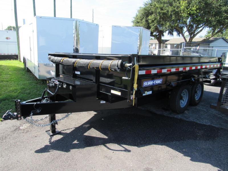 2019 Sure-Trac 8x14 Deckover Dump Trailer with Drop Down Sides in Saint George, GA