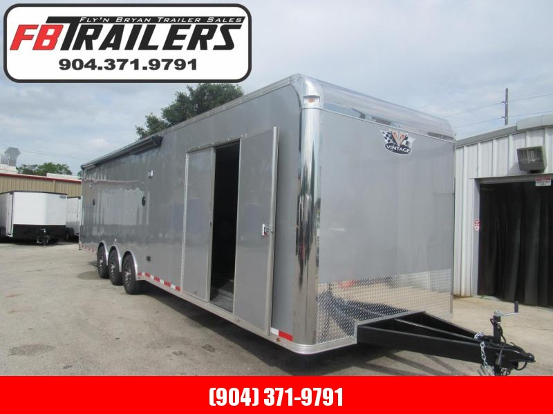 2019 34' Pro Stock Bath Package w/ A/C Elect Awning Race Trailer by Vintage Trailers