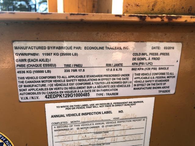 2016 Econoline 25' 10 Ton Tandem Axle Flatdeck With Dove