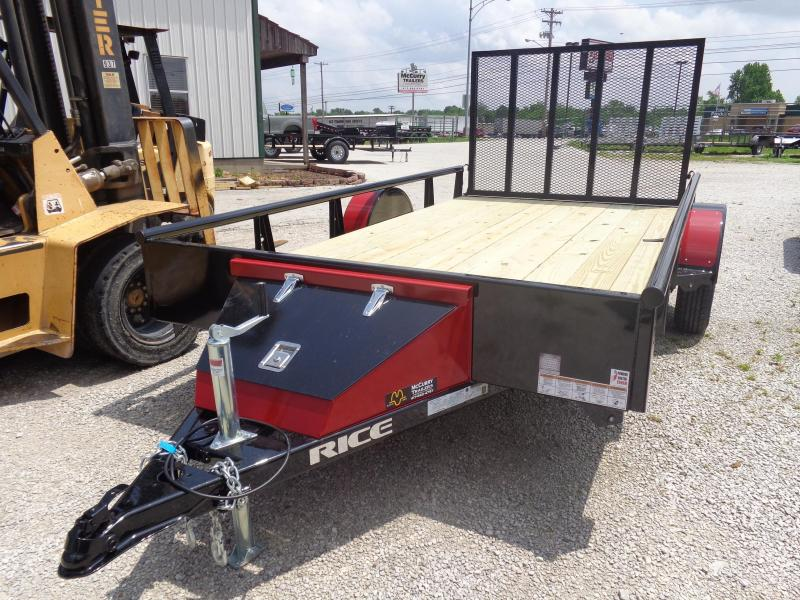 Rice 76 x 12' Bumper Pull Pipe Top Rail Black w/ Red-Out Utility Trailer