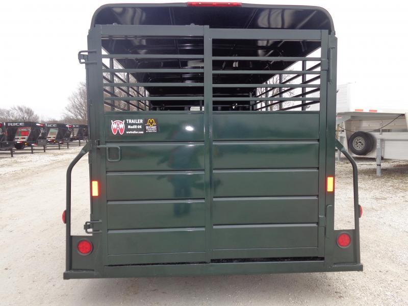 W-W 14' x 6' Bumper Pull Stock Trailer Hunter Green