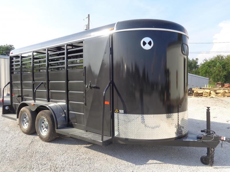 W-W 16' x 6' All Around Dark Shadow Gray bumper Pull Livestock trailer