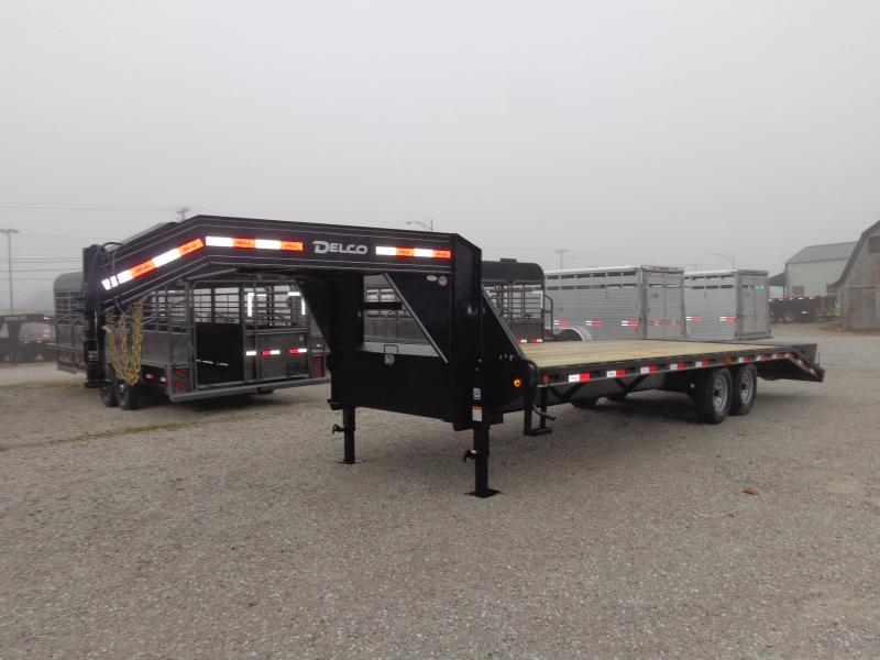 Delco 102 x 20'+5' Gooseneck 14000 Deckover Equipment Trailer W/ MAX Ramps
