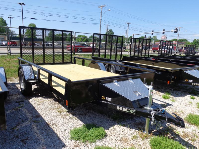 Rice 76 x 12 Bumper Pull Pipe Top Rail Black Utility Trailer