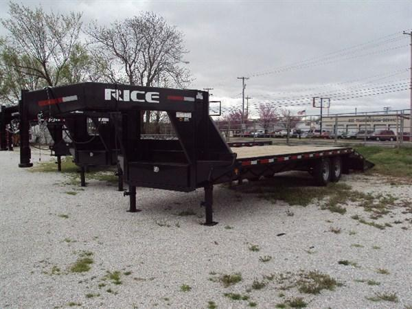 "Rice 102"" x 20'+5' 14000# Gooseneck Deckover W/ 2 Fold Over Ramps & Center Pop-Up"